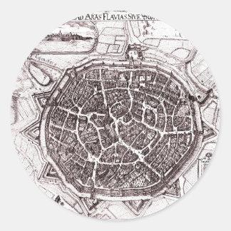 Historische Karte von Nordlingen, Deutschland im Runder Aufkleber