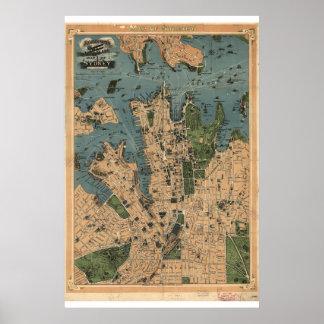 Historische Karte von Sydney Australien 1922 Poster