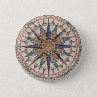 Historischer Seekompaß (1543) Runder Button 5,7 Cm