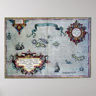 Historisches Karten-Plakat Azoren Poster