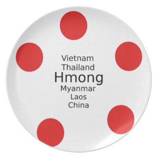 Hmong Sprachentwurf (schließt Länder) mit ein Melaminteller