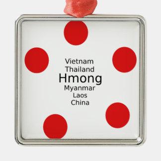 Hmong Sprachentwurf (schließt Länder) mit ein Silbernes Ornament