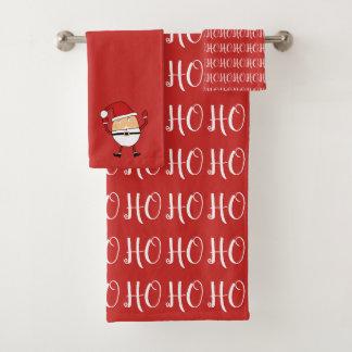 Ho Ho Ho Beeren-rotes und weißes Weihnachten Badhandtuch Set