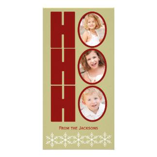 HO HO HO Foto-Feiertags-Karte TAN und Rot Individuelle Photo Karte
