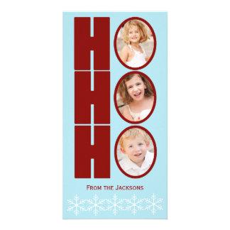 HO HO HO Foto-Feiertags-Karten-Blau und Rot Bildkarte