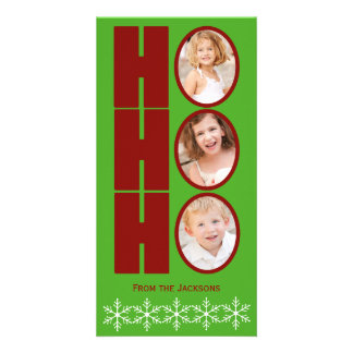 HO HO HO Foto-Feiertags-Karten-Grün und Rot Individuelle Foto Karten