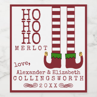 Ho Ho Ho Merlot-Weihnachtswein-Aufkleber Weinetikett
