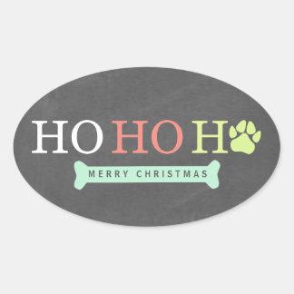 Ho Ho Ho Tatzen-Tatzen-Druck-Weihnachten - multi Ovaler Aufkleber