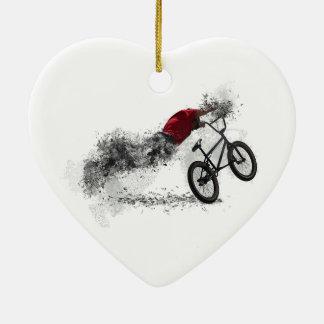 Hobby des Fahrrad-BMX Keramik Herz-Ornament