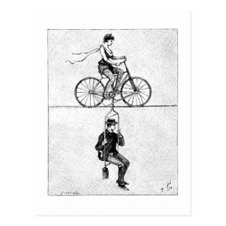 Hoch-Draht Fahrrad - Vintager Zirkus-radfahrentat Postkarte