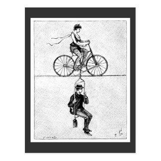 Hoch-Draht Fahrrad - Vintager Zirkus-radfahrentat Postkarten