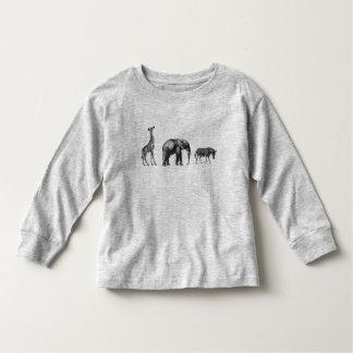 Hoch entwickelte Safari, Giraffe, Elefant und Kleinkind T-shirt