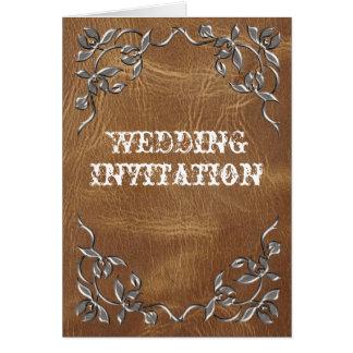 Hoch entwickelte Western-Leder-Hochzeit Karte