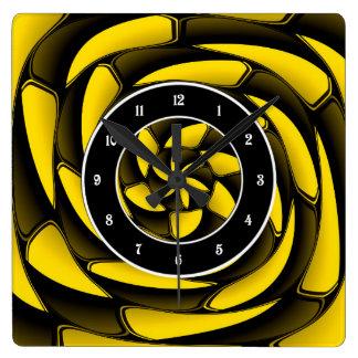 Hochauflösendes Schwarzes und gelb Wanduhr