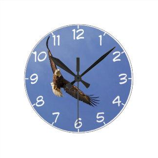 Hochfliegender Weißkopfseeadler Runde Wanduhr
