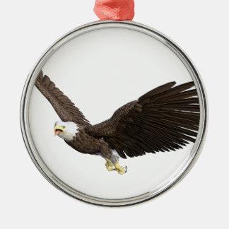 Hochfliegender Weißkopfseeadler Rundes Silberfarbenes Ornament