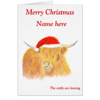 Hochland-Kuh-Weihnachtskarte, kundengerecht Karte