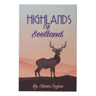 Hochländer des Schottland-Hirschreiseplakats Holzleinwand