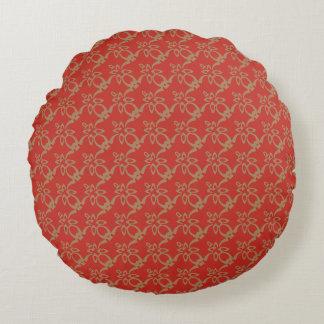 Hochrot und BurlyWood modernes Muster Rundes Kissen