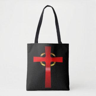 Hochrot und Goldkeltisches Kreuz Tasche