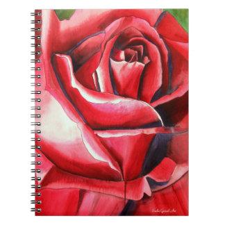 Hochrote Rote Rose ursprüngliche Notizblock
