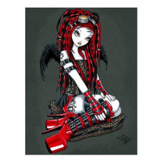 """""""Hochrote"""" rote TätowierungCyber Goth Postkarte"""
