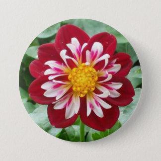 Hochroter Blumen-Knopf Runder Button 7,6 Cm