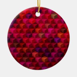 Hochrotes Rot-Kubismus-Würfel-Muster-Kunst Keramik Ornament