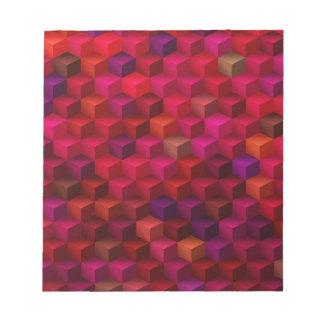 Hochrotes Rot-Kubismus-Würfel-Muster-Kunst Notizblock