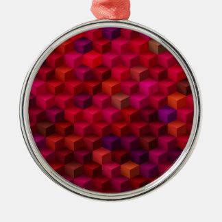 Hochrotes Rot-Kubismus-Würfel-Muster-Kunst Silbernes Ornament