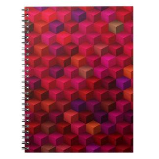 Hochrotes Rot-Kubismus-Würfel-Muster-Kunst Spiral Notizblock