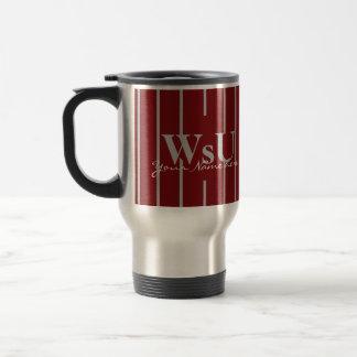 Hochrotes Rot-u. Grau-Streifen-Reise-Kaffee-Tasse Reisebecher