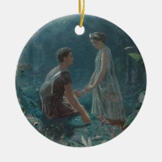 Hochsommer-Nacht Hermia und Lysander Rundes Keramik Ornament
