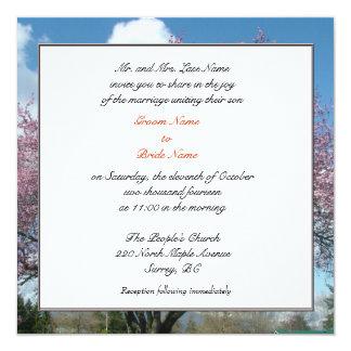 Hochzeit, Eltern-Einladungskirschbaum des Quadratische 13,3 Cm Einladungskarte