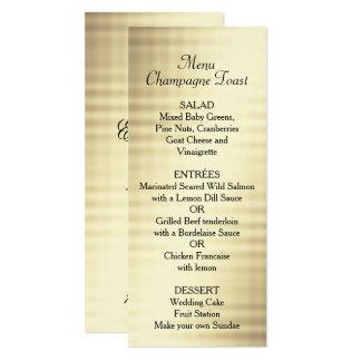 Hochzeit, Goldfolie, kundenspezifisches Menü 10,2 X 23,5 Cm Einladungskarte