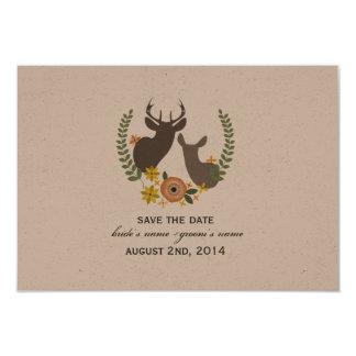 Hochzeit im Herbsts-Blumenrotwild Save the Date 8,9 X 12,7 Cm Einladungskarte