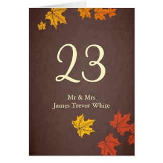 Hochzeit im Herbststabellen-Sitzplatzkarte Karte