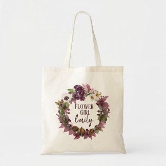 Hochzeit im Herbstwreath-Pflaumen-Blumen-Mädchen Tragetasche