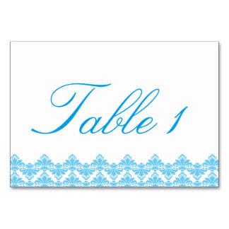 Hochzeit Tablecard antiker Damast-Türkis 2 Karte