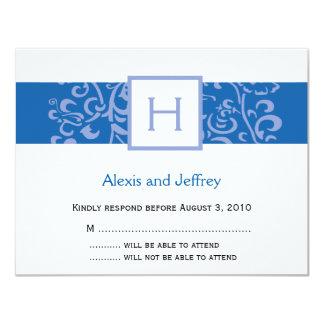 Hochzeit UAWG Karte - blaue Monogramm-Rebe 10,8 X 14 Cm Einladungskarte