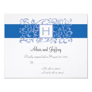 Hochzeit UAWG Karte - blaue Monogramm-Rebe Individuelle Ankündigung