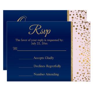 Hochzeit UAWG Karten-Marine-Blau, Rosa u. Karte