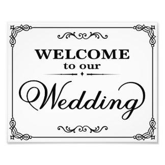 Hochzeit unterzeichnet Schwarzes u. Weißwillkommen Kunstphotos