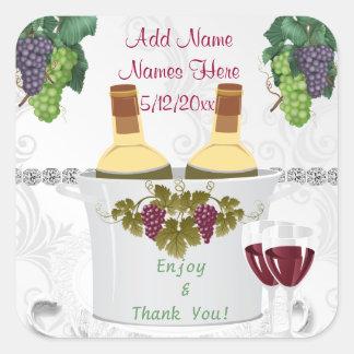 HOCHZEIT Wein-Aufkleber für BEVORZUGUNGEN Quadratischer Aufkleber