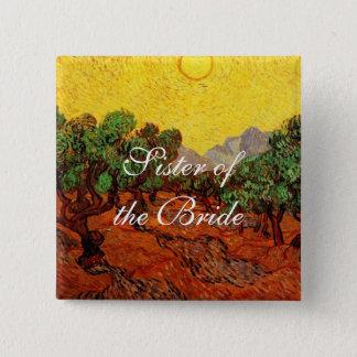 Hochzeiten, Olivenbäume Vincent van Goghs Quadratischer Button 5,1 Cm
