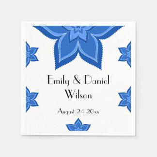 Hochzeits-Abendessen-Empfangs-Kobalt-Blau-Blume Papierserviette