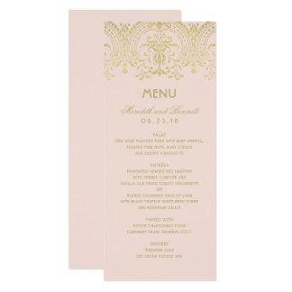 Hochzeits-Abendessen-Menü kardiert | GoldVintagen Karte