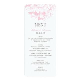 Hochzeits-Abendessen-Menü kardiert | rosa 10,2 X 23,5 Cm Einladungskarte