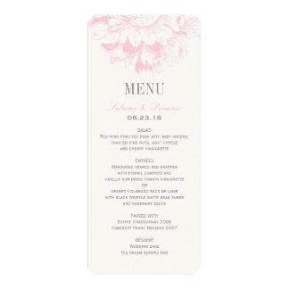 Hochzeits-Abendessen-Menü kardiert | rosa Individuelle Einladung