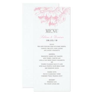 Hochzeits-Abendessen-Menü kardiert | rosa Karte